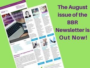 August issue of the BBR newsletter. Insolvency and Business news